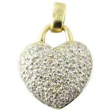 vintage 14 karat white and yellow gold pave diamond heart pendant gold and silver brokers ruby lane