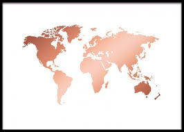 World Map Posters World Map Copper Poster