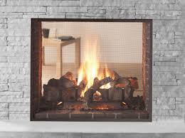 gas fireplace contemporary closed hearth double sided