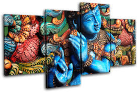 blue on religious wall art canvas with lord krishna hindu religion multi canvas wall art picture print va