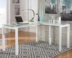 Office desk glass top Executive Modern Shaped Office Desk Amusing Glass Top Shaped Desk Frosted Homcom 61 Modern Omniwearhapticscom Modern Shaped Office Desk Amusing Glass Top Shaped Desk