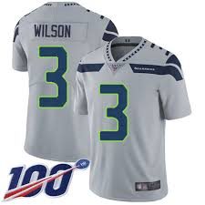 Seahawks 3 Russell Wilson Grey Alternate Mens Stitched