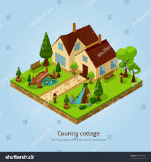 Landscape Design Concept Isometric Country Landscape Design Concept Various Stock