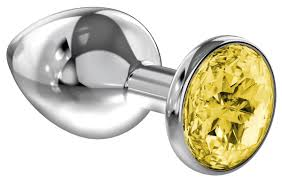 Большая серебристая <b>анальная пробка Diamond Yellow</b> Sparkle ...