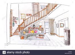 interior design sketches living room. Home Interior Design. Colored Hand Drawn Sketch Of Living Room With Stairs Design Sketches