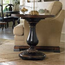 impressive round pedestal accent table iron wood in