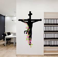 Christian Prayer Wall Designs Jesus Christ Floral Decal Religion Christian Cross Divine Trinity Prayer Vinyl