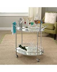 Abbyson Marriot Mirrored Oval Bar Cart (Silver)