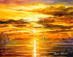 sunset of feelings original oil painting on canvas by leonid afremov 20 x16 50cm x 40cm