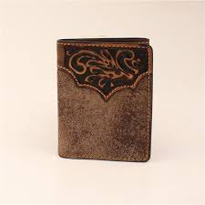 3d belt dw254 dude taupe distressed fl hand tooled leather tri fold wallet 4 25 x 3 25 in
