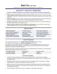 Resume Sapmles Experienced It Project Manager Resume Sample Monster Com