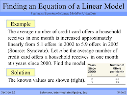 Finding Equations Of Linear Models Section 2 2 Lehmann
