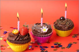 Miniature Chocolate Cupcakes With Candle Image