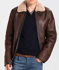 mens dark brown leather aviator style jacket