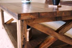 ... Teak Rectangle Varnished Wood Rustic X Coffee Table Designs To Complete  Living Room Ideas