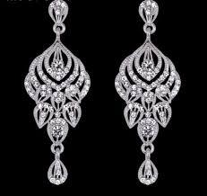 vintage crystal bridal chandelier earrings cubic zirconia crystal drop bridal