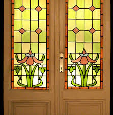 4 500 00 item 3730 3 piece beveled stained urn glass door