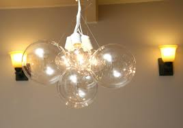 lighting floating bubble chandelier with double wall sconces and beige paint for pretty home interior beauty decor lamp design dining table light fixture
