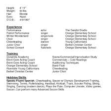 Sample Acting Resume With No Experience Free Actor Resume Template Acting Resume Sample Free Fax Cover Of 11