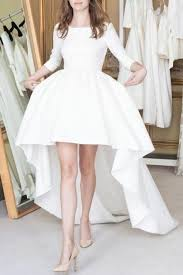 <b>Boat</b> Neck <b>Satin</b> High-Low Wedding Dresses with Sleeves ...