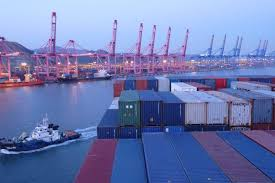the sea of containers atop the cargo ship freighter ship