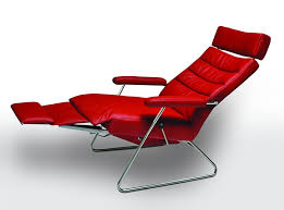 modern leather recliner chair. Modern Reclining Lounge Chair Adele By Lafer, Brazil; Leather Recliner