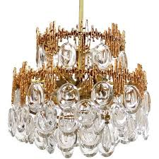 impressive gilt brass crystal glass fixture by palwa 1960s pendant chandelier for