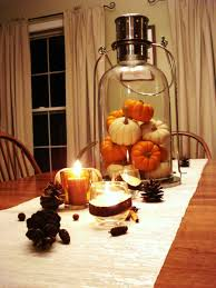 Romantic Dining Table Decoration With Small Pumpkins Inside Lantern