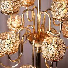 hanging tea light chandelier votive chandelier gold crystal beaded arm candelabra candle holder wedding centerpiece hanging