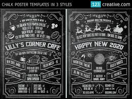 Chalkboard Menu Templates Chalk Poster In 3 Styles Halloween New Years Eve And