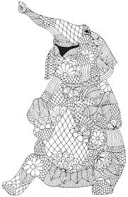 Happy Elephant From Awesome Animals Abstract Doodle Zentangle Advanced Coloring Books L