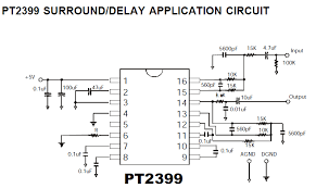 diy audio circuits pt2399 digital delay analog echo ic pt2399 surround delay application circuit