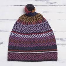 multicolored alpaca cap with pompom from peru andean pride