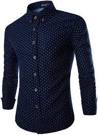Patterned Dress Shirts New OCIA Men's Tiny Mushroom Luxury Patterned Dress Shirts Navy Blue