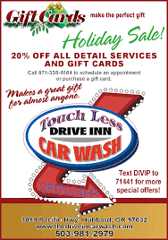 holiday on all detail services and gift cards in hubbard or car wash services touch less drive in car wash