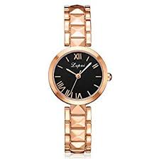 Buy <b>LVPAI Luxury</b> Rosegold Elegant <b>Watch</b> with Black Dial for Girls ...