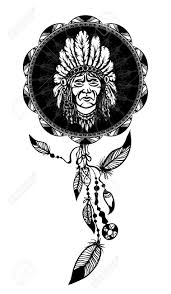 Indian Chief Dream Catcher Dream Catcher With Native American Man Portrait Ethnic Symbol 2