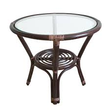 Small Round Rattan Table Round Small Coffee Table Diana 21 Color Dark Brown With Glass