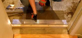 exterior door threshold install. checking the fit of new threshold exterior door install h