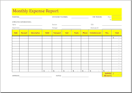 Monthly Household Expense Form Monthly Expense Report Template Expense Sheet Template Excel
