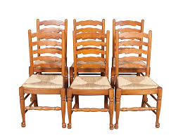 oak ladder back dining chairs with rush seats is full of rustic charm img 4789
