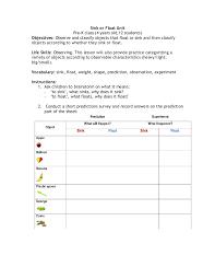 Sink or float Unit Instructions