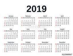 Year To Year Calendar Calendar 2019 In Simple Style Week Starts Sunday Vector