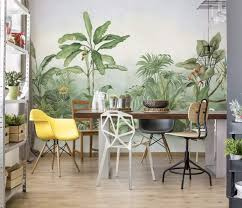 com murwall forest wallpaper jungle wall mural drawing wall art tropical home decor exotic cafe design living room bedroom entryway handmade