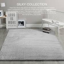 large silver grey gy floor rug super soft plush fluffy carpet 200x290cm