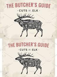 Butcher Diagram Scheme Elk Moose In 2019 Meat