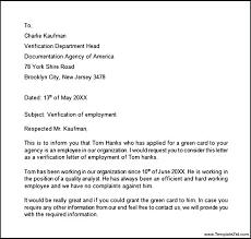 Employment Verification Letter Template Word Confirmation Of Employment Letter Template Free Proof Work
