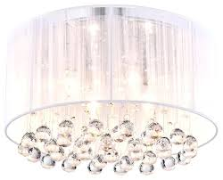 full size of crystal 4 light white drum shade chrome flush mount chandelier with regard to