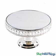 beaded real crystal cake stand centerpiece riser round with mirrored top prestige
