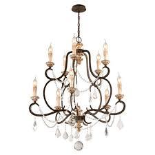 troy bordeaux parisian bronze 10 light medium chandelier w distressed gold leaf crystal